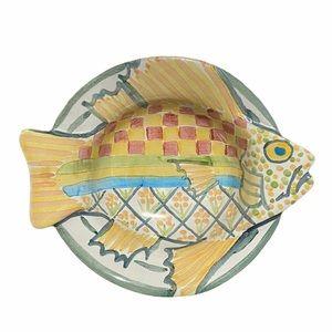 MacKenzie Childs • Fish Bowl Hand Painted Majolica